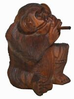 "6"" Hand Carved Wooden Monkey with CIGAR SMOKING Pipe Cigarette Statue Handmade"