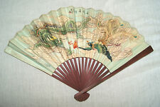 Vintage Hand Painted Parchment Paper Bamboo Hand Fan - Peoples Republic Of China