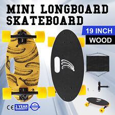 """Mini 19"""" Longboard Skateboard Cruiser Skateboard Banana Wood Portable Downhill"""