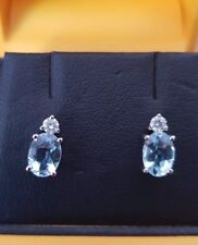 Designer 9ct White Gold Blue Aquamarine Solitaire Diamond Earrings Studs