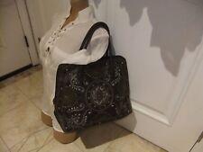 "ALDO Dark Brown Faux Leather Embroidered Studded Design Handbag, 14"" x 12"""