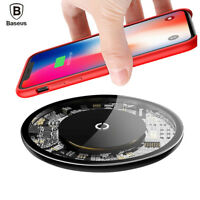 Baseus QI Wireless Fast Charger Tempered Glass Pad For Samsung S9+ iPhone Xs Max