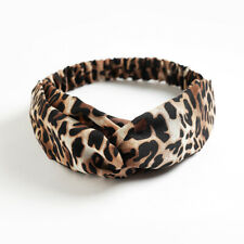 Fascia per capelli elastica donna nodo elegante leopardata beige vintage