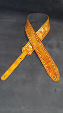 "Leather guitar strap custom hand made tooled and dyed  ""Borders""  light brown"