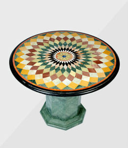 """36"""" Round marble Table Top inlaid semi precious stones work With Marble Stand"""