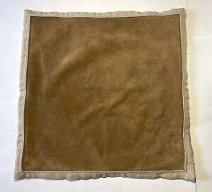 $349 WILLIAMS SONOMA HOME Heavy Natural Linen Brown Suede 22x22 Pillow Cover
