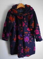 Made In Italy deep purple indigo Wool boho arty Coat lagenlook Large (UK 12-16)