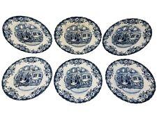 "Set Of 6 Johnson Bros Coaching Scenes 7-7/8"" Salad Luncheon Plates"