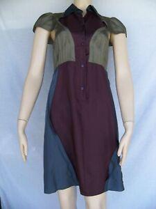 Size 38 6 CARVEN 100% Silk Blue Green Purple Colorblock Button Front Dress FLAW