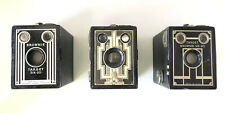 Three vintage Art Deco Kodak Target Brownie box cameras six-20 6x9 Tested