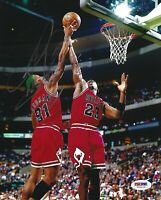 Dennis Rodman Signed Bulls 8x10 Photo PSA/DNA COA Auto Picture w/ Michael Jordan