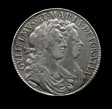 More details for 1689 silver half crown of william & mary. vf & guaranteed genuine.