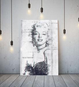MARILYN MONROE 4 -DEEP FRAMED CANVAS WALL SKETCH ART PICTURE PAPER PRINT- GREY