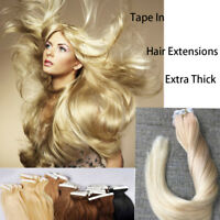 "NEW 16""-22"" Tape in HAIR Extensions Skin Weft Real Remy Human Straight Grade 7A"