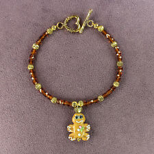 GINGERBREAD MAN BRACELET Holiday Christmas Cookie Pastry Kitchen Chef Love Heart