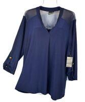 New Elie McCarthy Women's 3X Navy Blue 3/4 Sleeve Blouse Top Shirt NWT