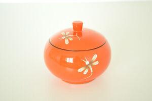Decorative Handmade Lacquered Eggshell Inlaid Wooden Round Box Jar Orange H072L