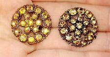 New listing Beautiful Set Of 2 Vintage 1950's Aurora Rhinestone Buttons