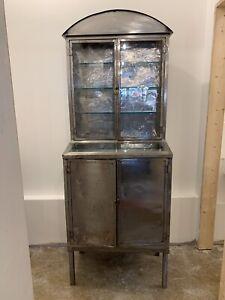 Vintage Polished Steel Medical Cabinet