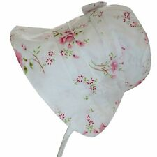 ADORABLE Powell Craft Pink Cotton Girl's Sun Hat Baby Bonnet 'White Rose' 0-12m