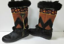 TECNICA Tribal Brown Suede Black Fur Boots MADE IN ITALY Sz 38 MINT CONDITION