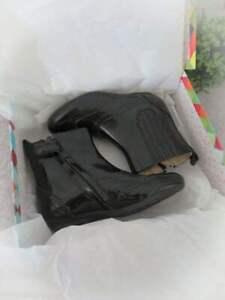 POM D'API Girl's Black Patent Leather Boots Shoes New Original Box  EU 27 US 10