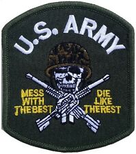 PREMIUM IRON ON PATCH TOP GUN US NAVY MILITARY ARMY WEAPONS MESS WITH THE BEST
