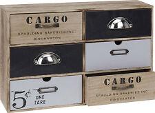 Mini Cassettiera CARGO Armadietto 6 Cassetti Armadio stoccaggio Shabby Chic