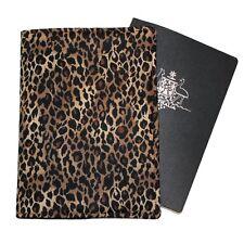 PASSPORT COVER/FOLDER/WALLET - BROWN LEOPARD crafted by Graggie Australia*GA