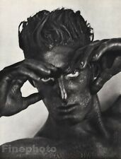 1986 Vintage Surreal TONY WARD BLACK FACE Male Photo Gravure By HERB RITTS 16x20