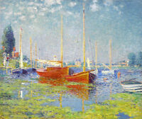 Art Oil painting Monet - Red Boats, Argenteuil in summer landscape canvas