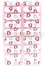 NAIL ART STICKER  DECAL DESIGN FOR NAILS 16 WRAPS COLOUR WHITE RED HEART