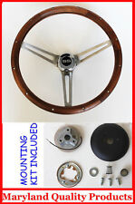 "SS Chevelle Nova Camaro Impala Grant Steering Wheel Walnut Wood 15"""