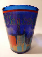 CHICAGO ILLINOIS COBALT SHOT GLASS SHOTGLASS