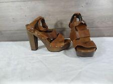 Stuart Weitzman Brown Studded Platform Wooden Heel Leather Size 8 M