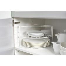 White Corner Plate Rack Stand Holder Kitchen Cupboard Worktop Organiser