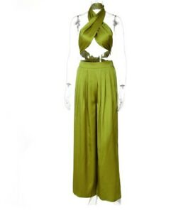 Women Fashion 2PC Set Halter Top+Straight +Wide Leg Pants Streetwear Outfit #Y2