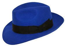 Damen Königsblau 100% Wolle Handgefertigt Breiter Krempe Filz Fedora Trilby