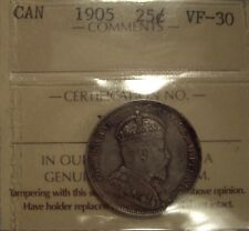 Canada Edward VII 1905 Silver 25 Cent - ICCS VF-30