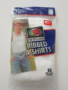 1998 Vintage Fruit Of Loom 100% Cotton 3 Boys' Ribbed A-shirt Size M(6-8)