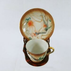 Asian Dragonware Tea Cup Saucer Demitasse Moriage Design with Easel Stand