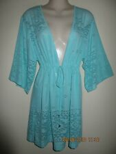 New WEARABOUTS Laser cut Cover Up V-Neck Tunic Dress, Mint, Size S