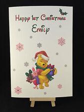 Personalizzata & Handmade Winnie The Poo & Pimpi prima cartolina di natale