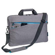 Notebooktasche 17,3 Zoll Laptoptasche mit Zubehörfächer, Schultergurt, grau