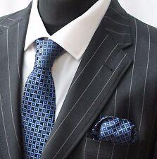 Tie Cravatta Con Fazzoletto Blu & Nero