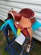 """12"""" Chestnut Leather Western Youth Saddle Round Skirt Mini Miniature Horse Pony"""