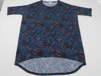 LuLaRoe Purple Blue Pink Geometric Irma Shirt Women's XS Top Tee Tunic Black EUC
