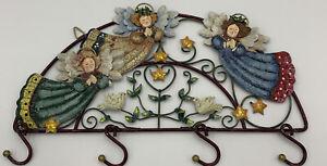 "Vintage Whimsical Angel- Dove Key Rack- Hanging Entry Way Decor 13.5"" Long"