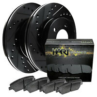 [FRONT KIT] Black Hart *DRILLED & SLOTTED* Disc Brake Rotors +Ceramic Pads F1879