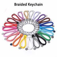Car Keychain Leather Rope Strap Weave Keyring Key Fob Key Chain Ring Colorful
